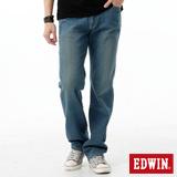 EDWIN 大尺碼 REBEL基本五袋直筒牛仔褲-男-中古藍
