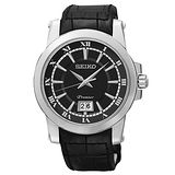SEIKO 精工 Premier 羅馬主義大視窗時尚皮帶腕錶/6N76-00B0A
