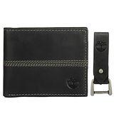 Timberland 真皮縫線裝飾LOGO壓紋雙摺短夾鑰匙圈禮盒-黑色