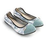 itabella.甜美個性金屬飾釦娃娃鞋(藍)