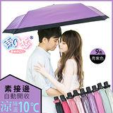 獨家降溫10℃三折自動開收-素色接邊【亮紫色】SGS認證/防曬/抗UV/輕量/折傘-日本雨之戀