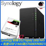 Synology 群暉 DS216play 2Bay NAS+希捷 6TB NAS碟*2(ST6000VN0021)
