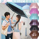 獨家降溫 10℃ 三折碳纖骨 - 海棠【水藍】SGS認證/防曬/抗UV/大傘面/折傘-日本雨之戀