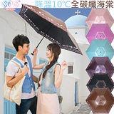 獨家降溫 10℃ 三折碳纖骨 - 海棠【金咖啡】SGS認證/防曬/抗UV/大傘面/折傘-日本雨之戀