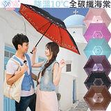 獨家降溫 10℃ 三折碳纖骨 - 海棠【黑內紅】SGS認證/防曬/抗UV/大傘面/折傘-日本雨之戀
