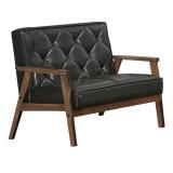 【幸福屋】 伯諾尼3.8尺胡桃雙人黑皮沙發