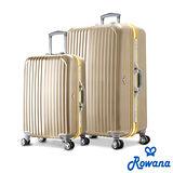 Rowana 金燦炫光PC鏡面鋁框行李箱 25+29吋(香檳金)