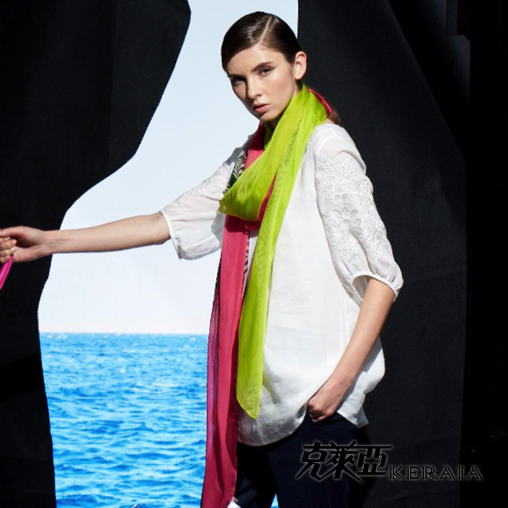 【克萊亞KERAIA】雕花棉麻七分袖上衣