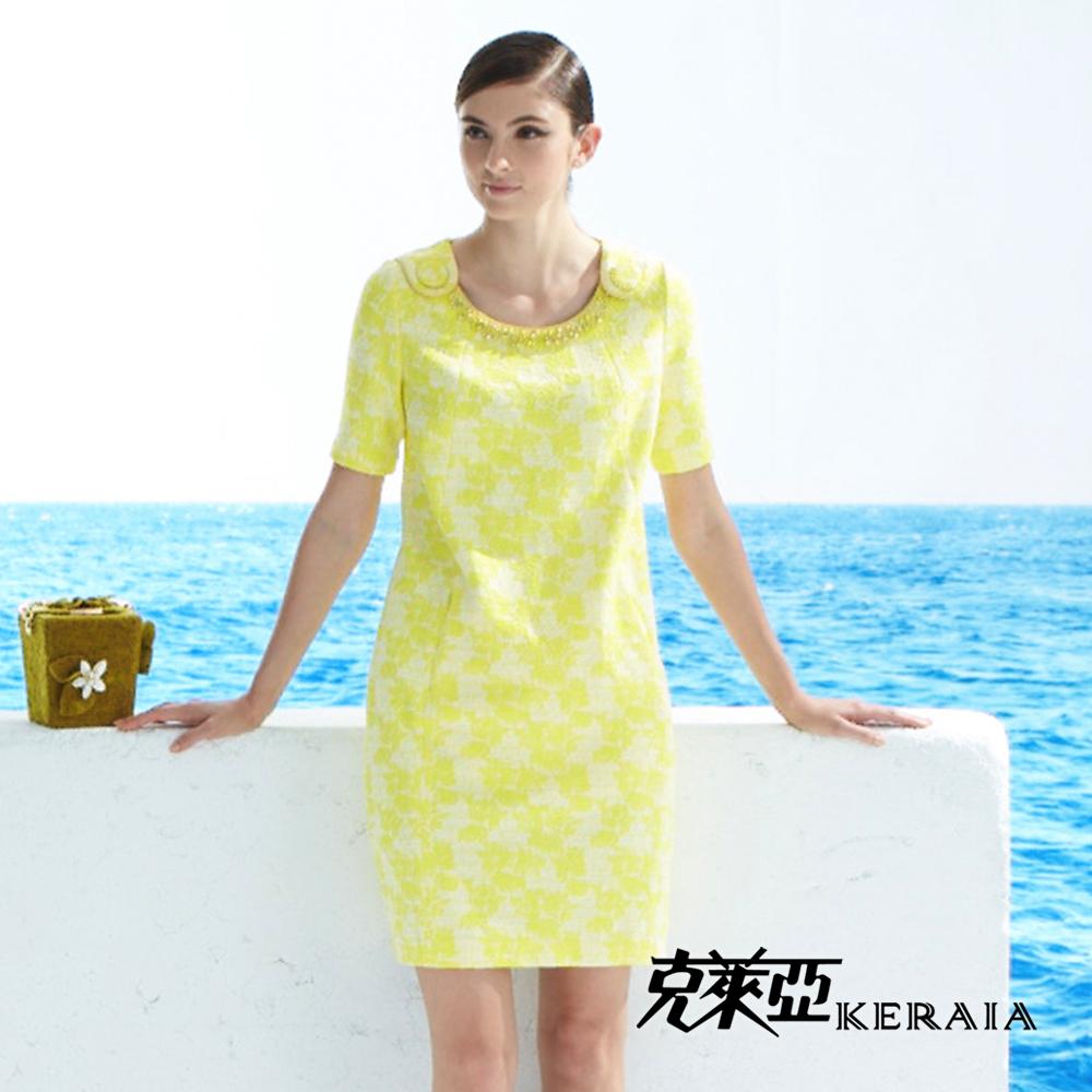 【克萊亞KERAIA】設計感緹花短袖洋裝