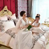 法國CASA BELLE《晶典薇雅-粉》雙人蕾絲四件式被套床包組