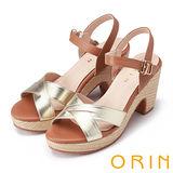 ORIN 時尚焦點 全真皮交叉麻編粗跟涼鞋-金色