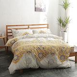 美夢元素 台灣製精梳棉 雙人加大四件式 兩用被床包組-黃金印象