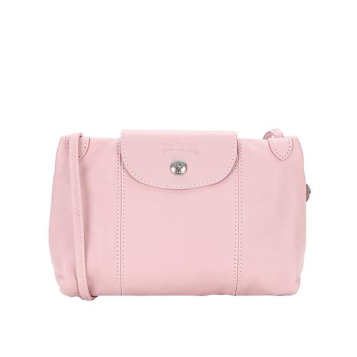 LONGCHAMP 經典LE PLIAGE CUIR小羊皮手拿/斜背包(粉紅)