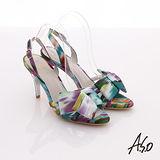 【A.S.O】庭園派對 繽紛蝴蝶結細帶高跟涼鞋(紫)