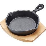 《Master》木盤+迷你單柄鑄鐵煎烤盤(圓15cm)