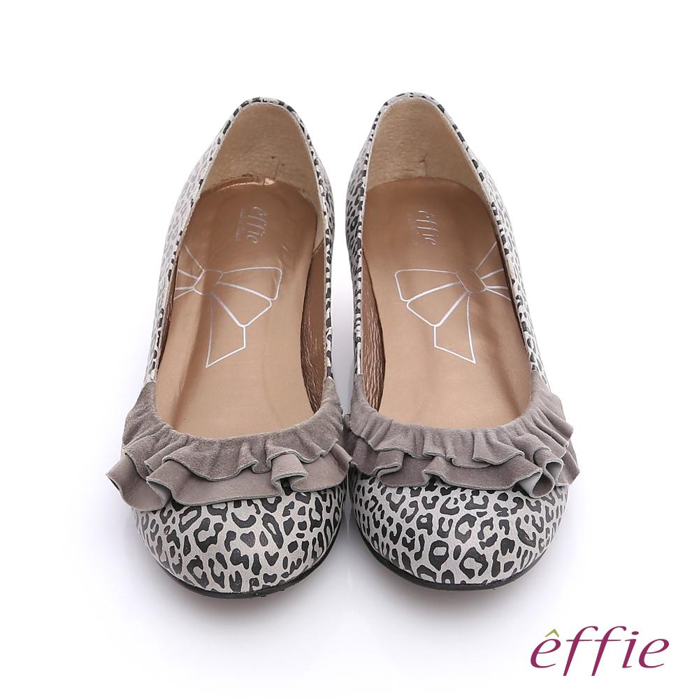 【effie】都會時尚 全真皮動物紋鞋面緞布拼接低跟鞋(灰)