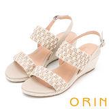 ORIN 異國時尚度假 麻布編織楔型涼鞋-米色