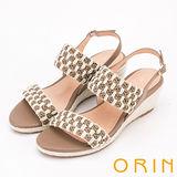 ORIN 異國時尚度假 麻布編織楔型涼鞋-咖啡