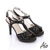 【A.S.O】魔法戀情 真皮緞布水鑽高跟涼鞋(黑)