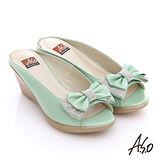 A.S.O 魔法戀情 水鑽仿木紋楔型高跟涼拖鞋(淺綠)