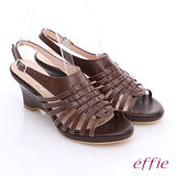 【effie】大地風情 全真皮編織扣環涼鞋(咖啡)