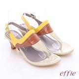 【effie】海灘派對 鏡面羊皮配色拼接中跟涼鞋(米)