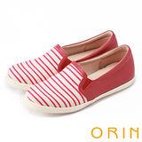 ORIN 引出度假氣氛 異材質拼接條紋平底便鞋-紅色