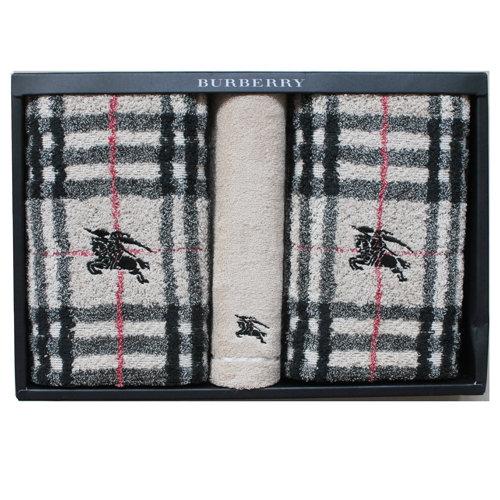 【Burberry】經典戰馬格紋毛巾禮盒組-卡其色