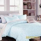 【BEDDING】思綺-藍 TENCEL 100% 天絲木漿纖維雙人加大薄床包+鋪棉兩用被組