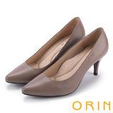 ORIN 時尚OL 簡約剪裁牛皮壓紋素面高跟鞋-可可