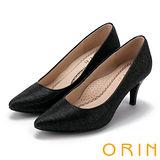 ORIN 典雅輕熟OL 特殊布料素面百搭尖頭高跟鞋-黑色
