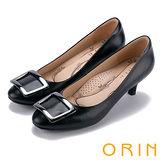 ORIN 時尚魅力 方型飾釦優雅羊皮中跟鞋-黑色