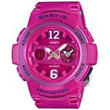 CASIO 卡西歐 Baby-G 繽紛色彩 少女時代兩地時間運動腕錶/46mm/BGA-210-4B2