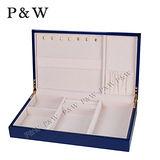 【P&W珠寶收藏盒】 【手工精品】 藍色 木質鋼琴烤漆 首飾盒 收納盒