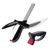 【EG Home 宜居家】二合一創意廚房用具組(蔬果料理砧板剪刀1入+手持磨刀器1入)