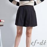 ef【ef-de】激安 素色蕾絲口袋百摺短褲裙(黑)