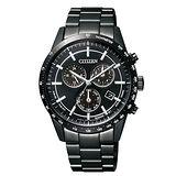 CITIZEN 星辰 GENT-炫黑三眼計時光動能腕錶/黑-40mm-BL5495-56E