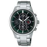 SEIKO 王者之劍 太陽能時尚兩地時間腕錶-黑/綠 V174-0AA0G(SBPY025J)