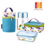 【法國FORUOR】水彩點點耐熱玻璃保鮮盒提袋組800ml+真空燜燒罐 保溫餐桶380ml提袋組
