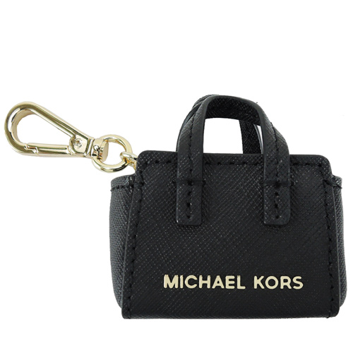 MICHAEL KORS SELMA 防刮皮革造型吊飾(黑)