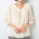 日本Portcros 預購-雅緻七分袖花邊折縫雪紡上衣(M,二色)