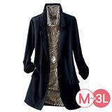 日本Portcros 預購-二件式高領條紋上衣西裝外套組(M-3L共二色)