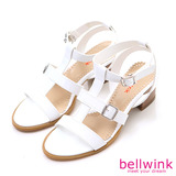 bellwink【B9301WE】優雅T字帶縷空低跟涼鞋-白色