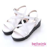 bellwink【B9311WE】交叉皮釦踝帶楔型厚底涼鞋-白色