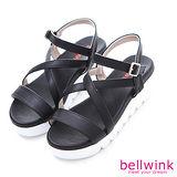 bellwink【B9311BK】交叉皮釦踝帶楔型厚底涼鞋-黑色