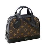 Louis Vuitton LV M41697 Nano Dora 經典花紋皮革拼接小巧斜背包.黑 預購