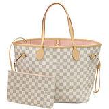 Louis Vuitton LV N41605 NEVERFULL MM 白棋盤格紋子母束口購物包.中 預購