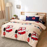 美夢元素 台灣製天鵝絨 英倫巴士 雙人加大四件式床包被套組