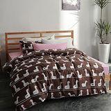 美夢元素 台灣製天鵝絨 小白鵝 雙人加大四件式床包被套組