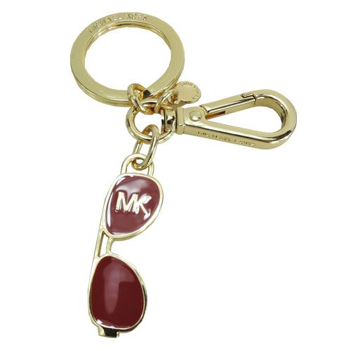 MICHAEL KORS 金屬琺瑯眼鏡造型鑰匙圈吊飾(紅/金)